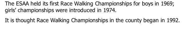 The ESAA held its first Race Walking Championships for boys in 1969; girls' championships were introduced in 1974.  It is thought Race Walking Championships in the county began in 1992.